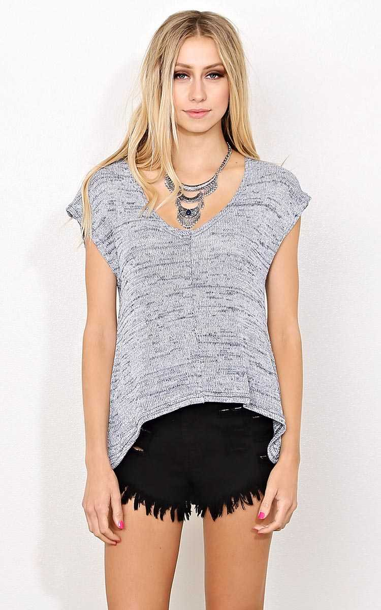 Charlene Marled Knit Top - - Navy Combo in Size by Styles For Less