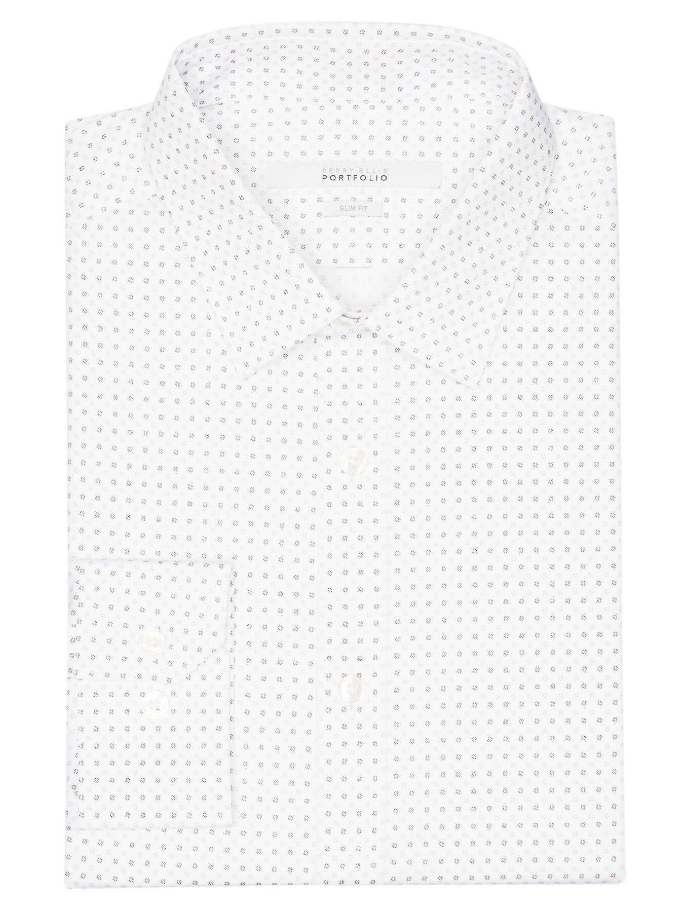 Perry Ellis Slim Fit Dash Flower Dress Shirt