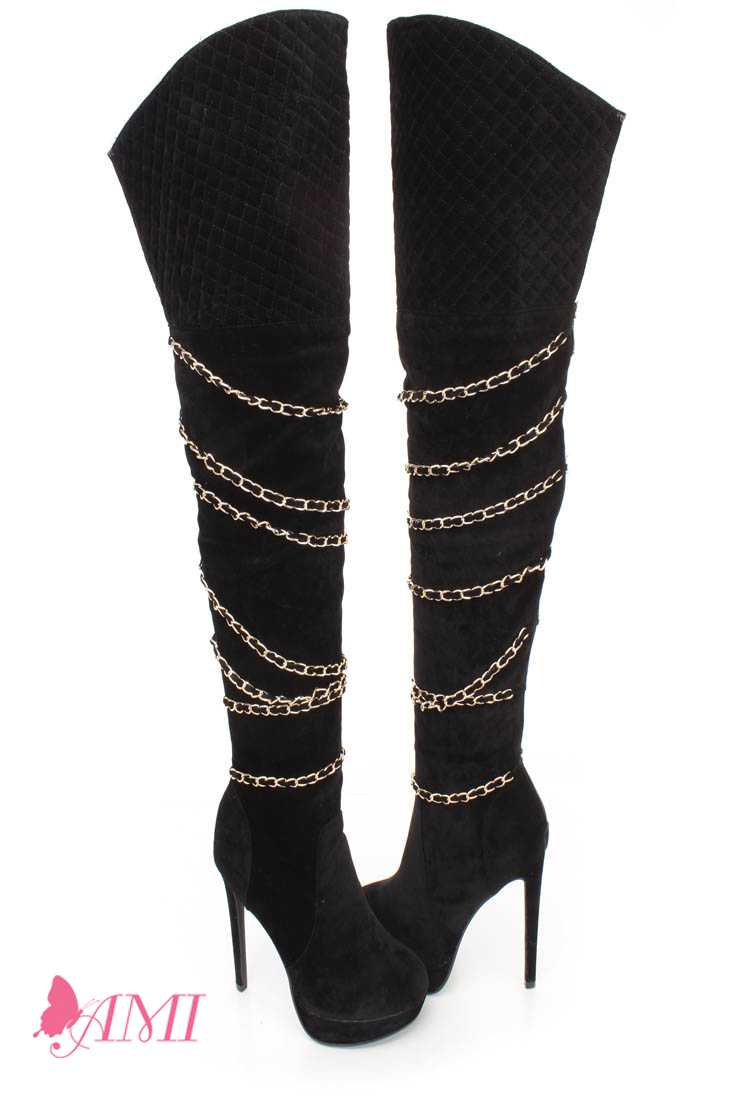 Black Stitched Chain Strappy Thigh High Heel Boots Faux Suede