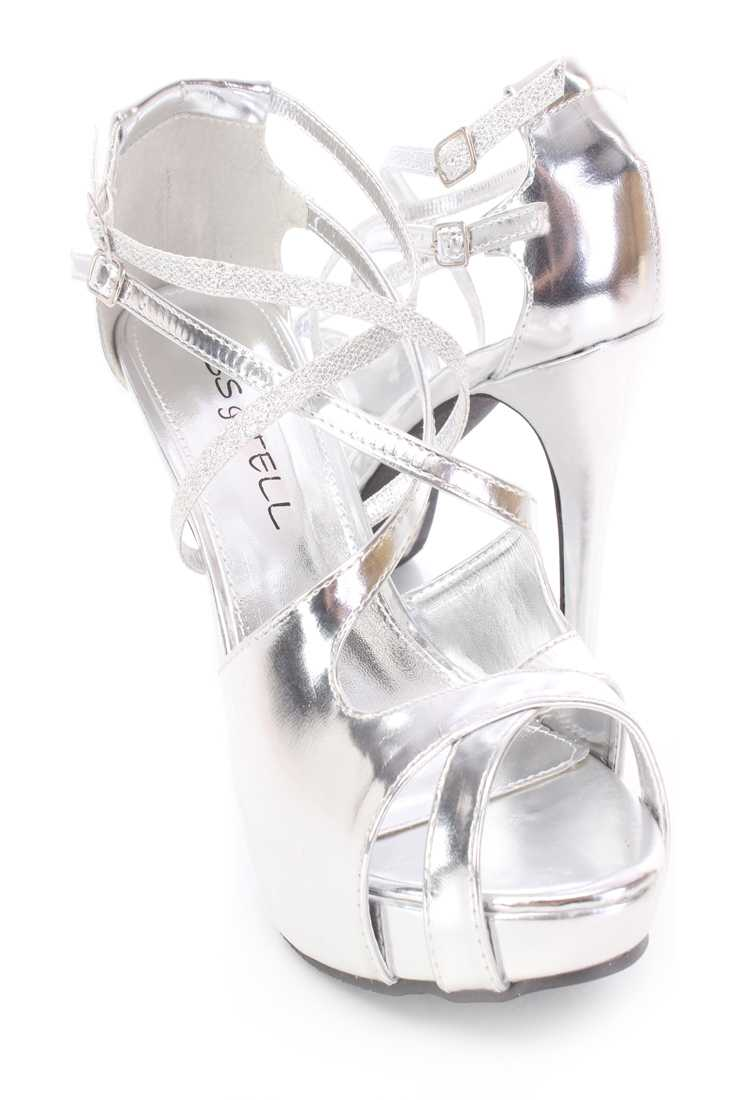Silver Strappy Peep Toe Heels Faux Leather
