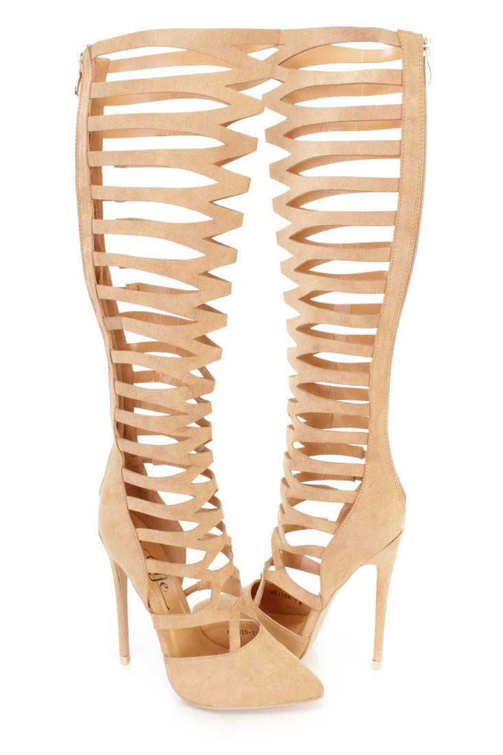 Camel Pointy Toe Gladiator High Heel Boots