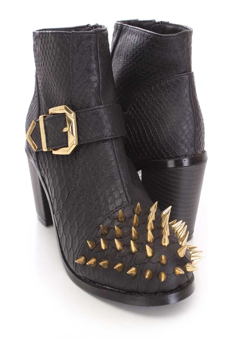 Black Spike Studed Ankle Booties Faux Croc