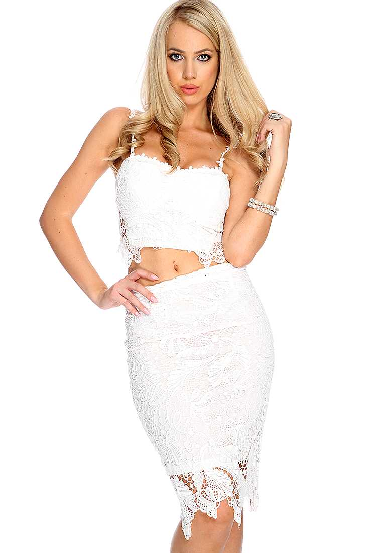 White Crotchet Crop Top Pencil Skirt Outfit *Celebrity Inspired by Kim K*