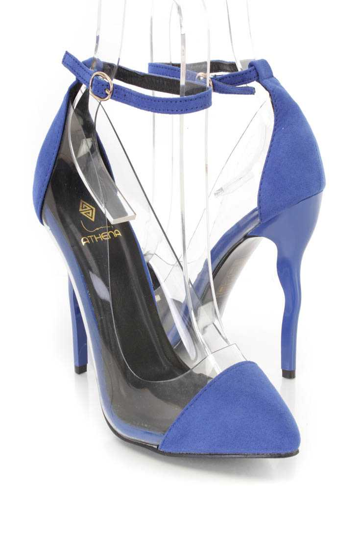 Royal Blue Ankle Strap Single Sole High Heels Faux Suede