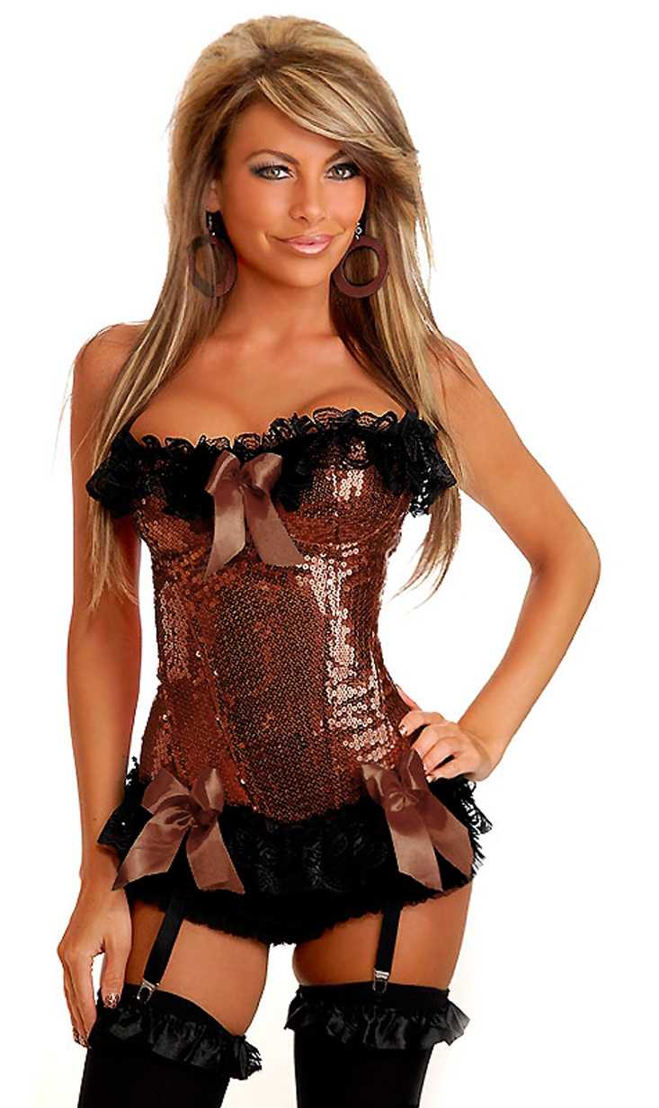 Brown Burlesque Underwire Corset