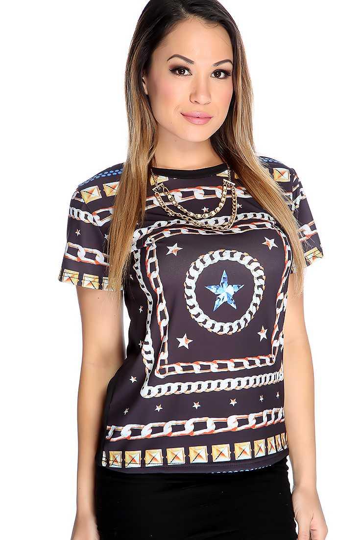 Black Star Chain Print Short Sleeve Top
