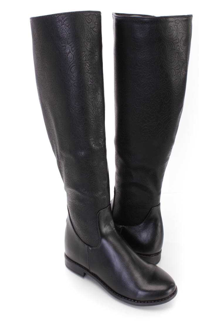 Black Paisley Embossed Knee High Boots Faux Leather