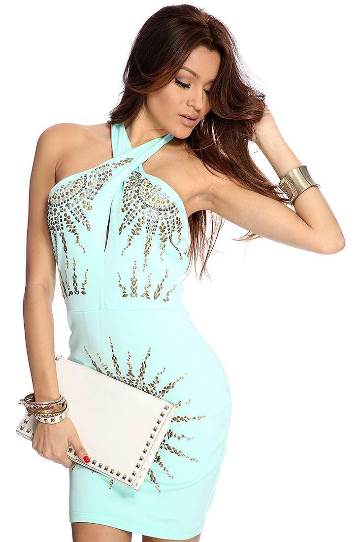 Mint Studded Sexy Halter Dress