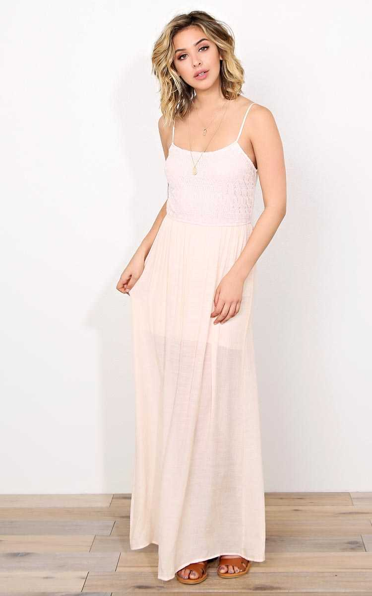 Adyson Woven Gauze Maxi Dress - MED - Peach in Size Medium by Styles For Less