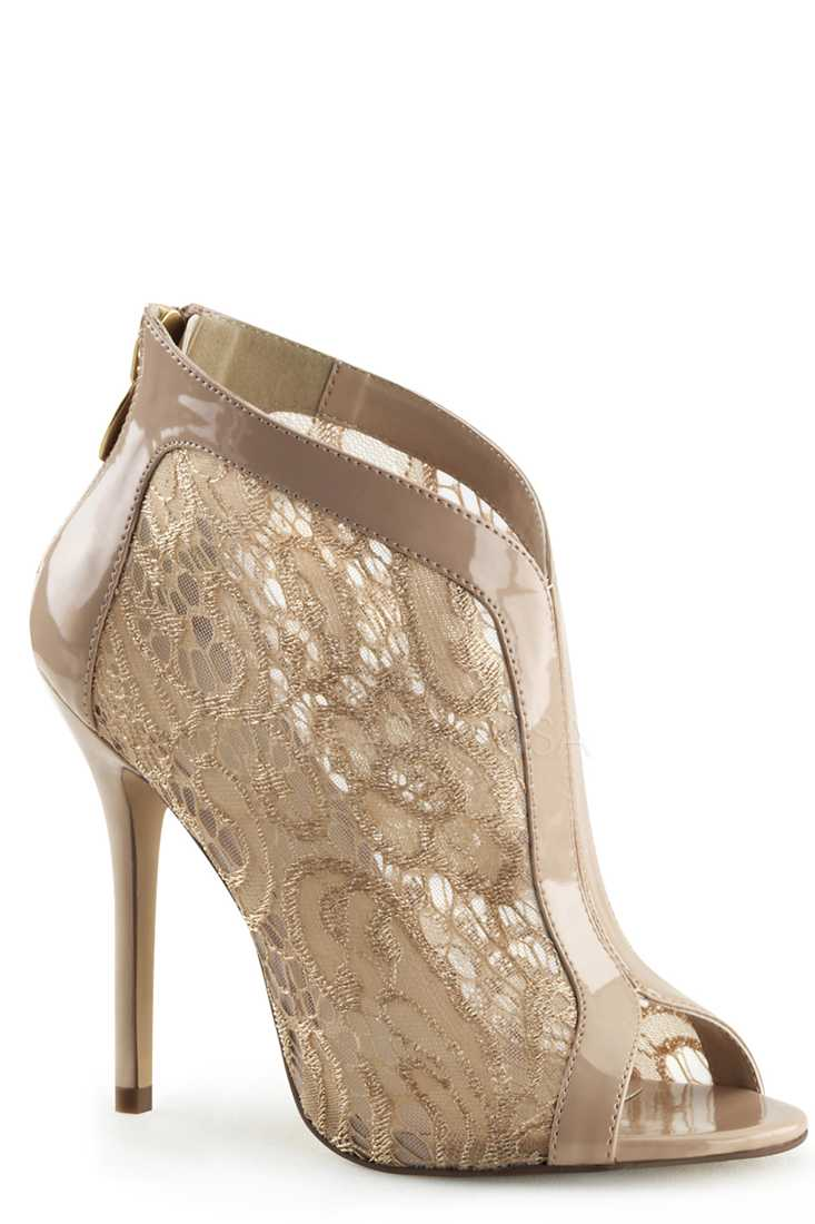 Nude Peep Toe Ankle Booties Patent Lace
