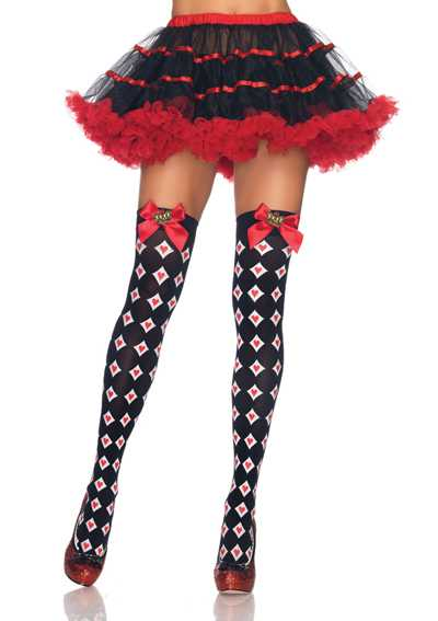 BLACK WHITE RED ROYAL DIAMOND HEART BOW CROWN CHARM THIGH HIGH STOCKINGS