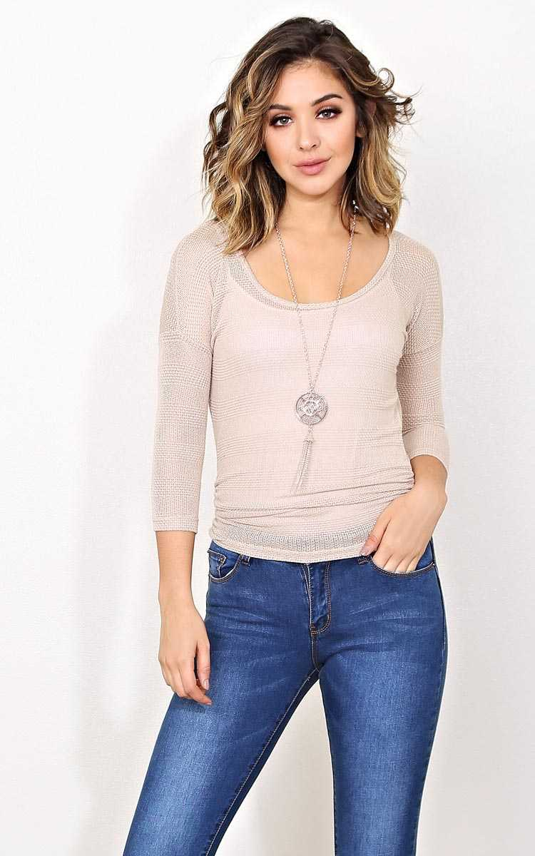 Sea Breeze Knit Necklace Top - - Ivry/Natrl in Size by Styles For Less