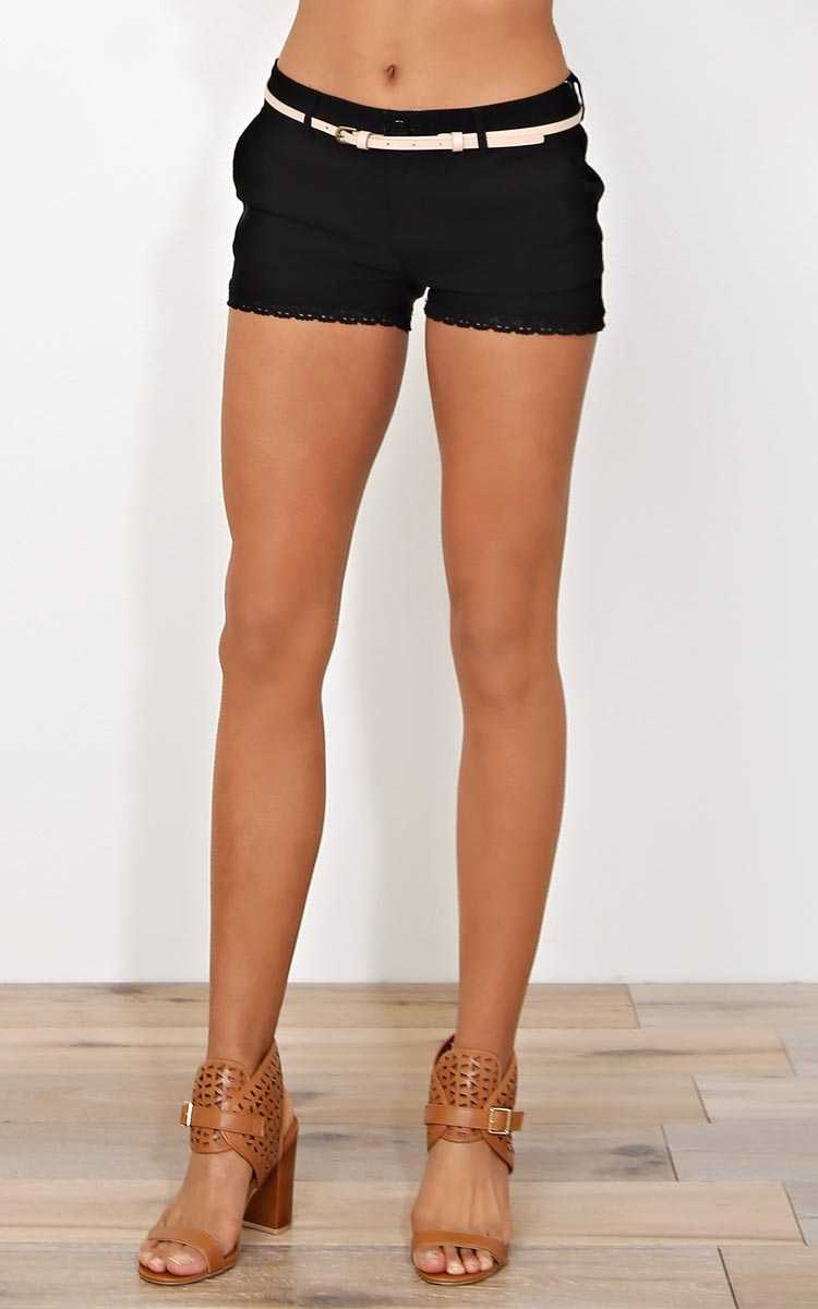 Santa Barbara Belted Twill Shorts - LGE - Black Combo in Size Large by Styles For Less