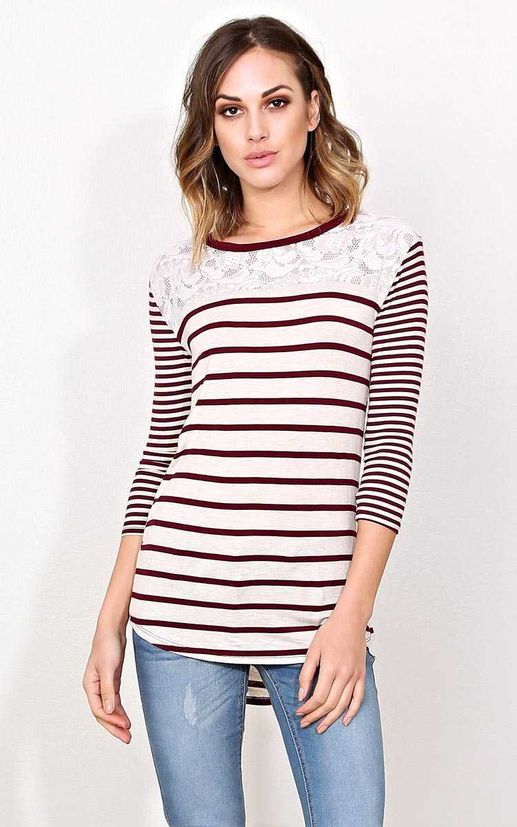 Sweet Stripes Knit Top - - Wine Combo in Size by Styles For Less