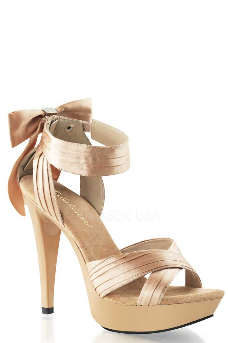 Champagne Pleated Criss Cross Strap High Heels Satin