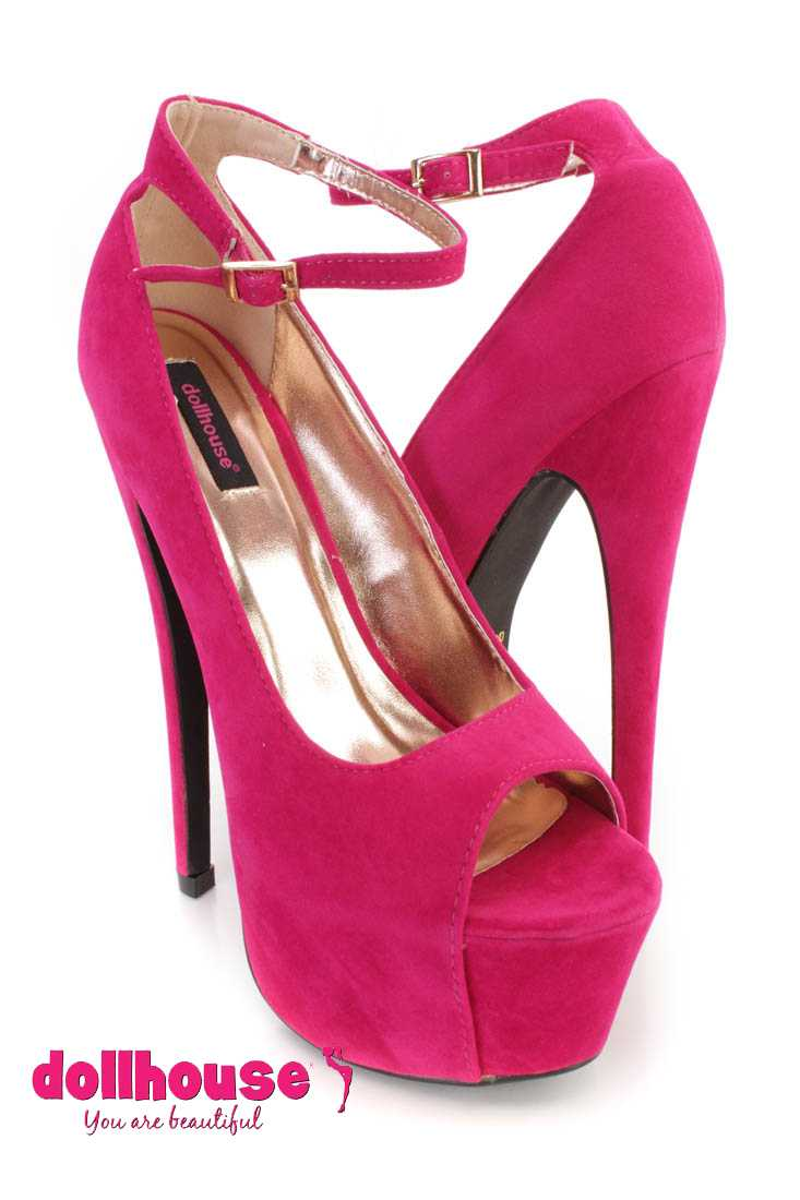 Hot Pink Ankle Strap Peep Toe 6 Inch High Heels Faux Suede