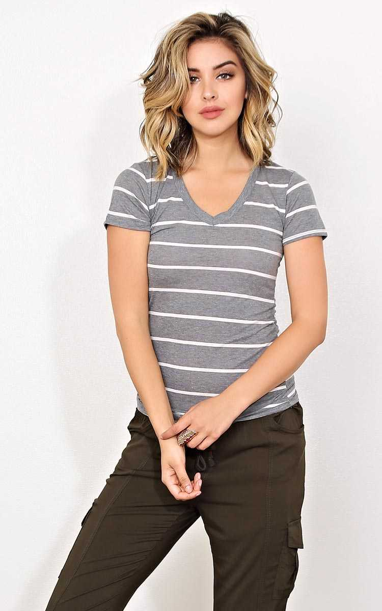 Hannah Striped Grey Top - - Grey Combo in Size by Styles For Less