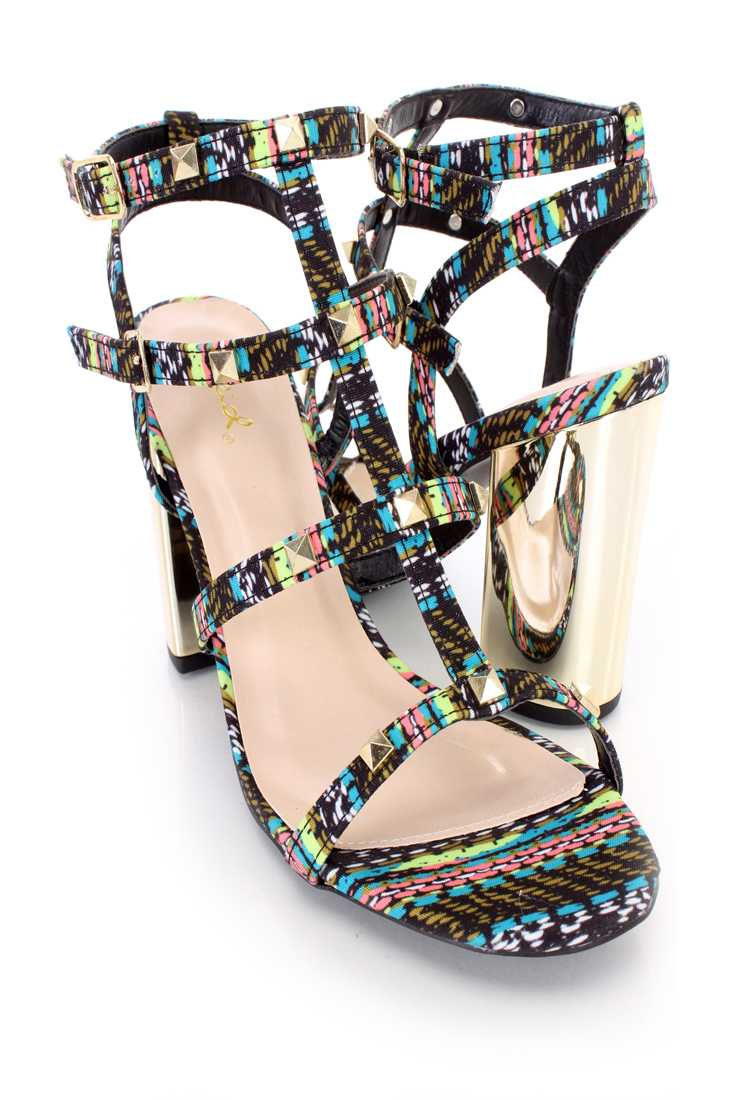 Black Multi Studded Strappy Single Sole Chunky Heels Fabric