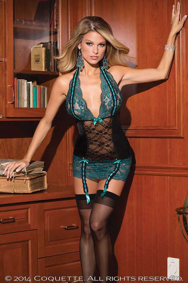 Black Teal Scallop Lace Sexy Chemise