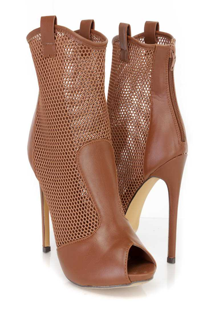 Cognac Netted Peep Toe Stiletto Booties Faux Leather