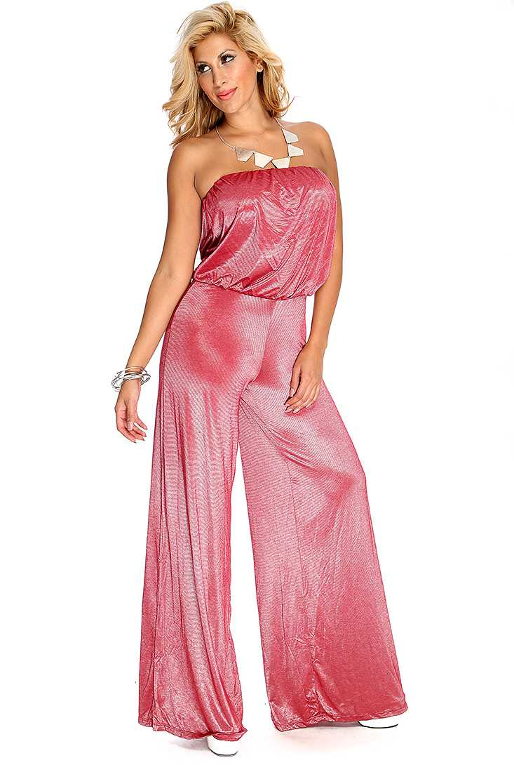 Red Strapless Dressy Jumpsuit