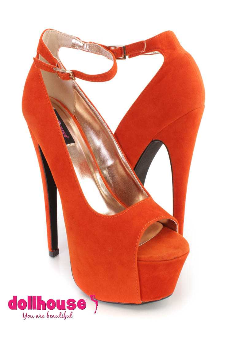 Orange Ankle Strap Peep Toe 6 Inch High Heels Faux Suede