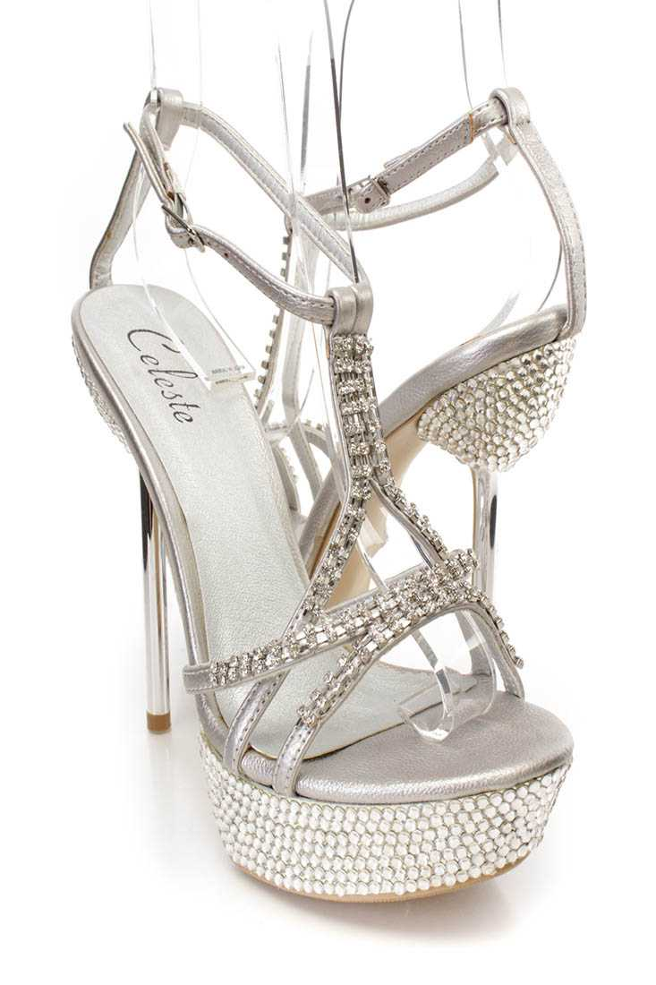 Silver Rhinestone Strappy Platform High Heels Faux Leather