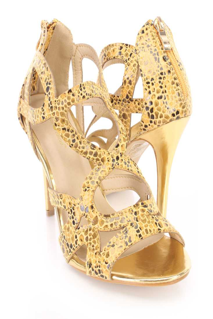 Mustard Printed Strappy Single Sole Heels Fabric