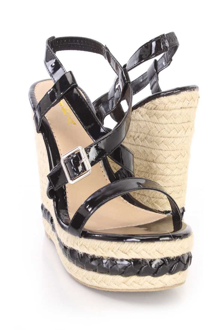 Black Cross Strappy Espadrille Platform Wedges Patent