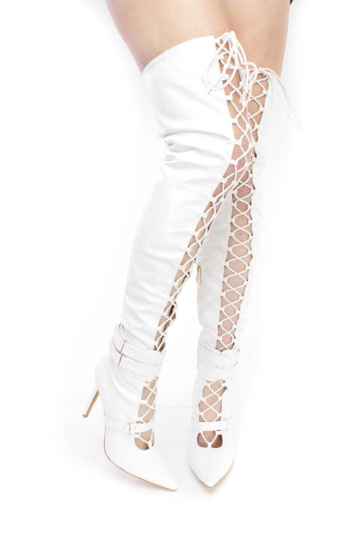 White Lace Up Single Sole High Heel Thigh High Boots Faux Leather
