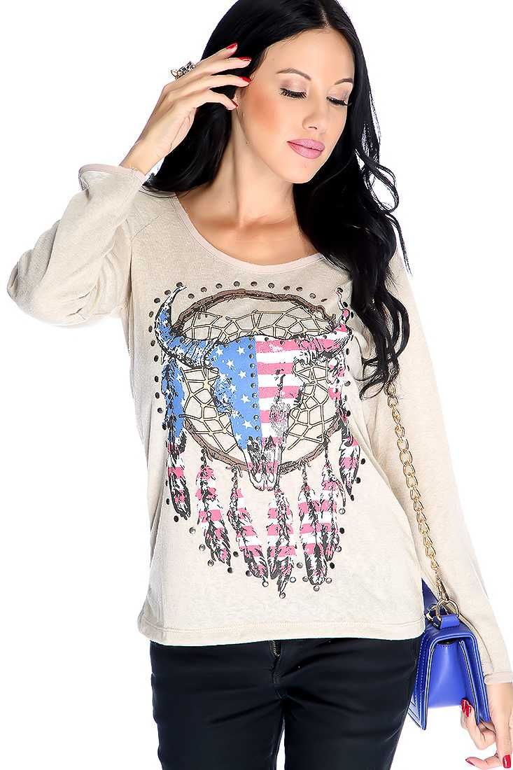 Beige Long Sleeve Graphic Print Studded Casual Top