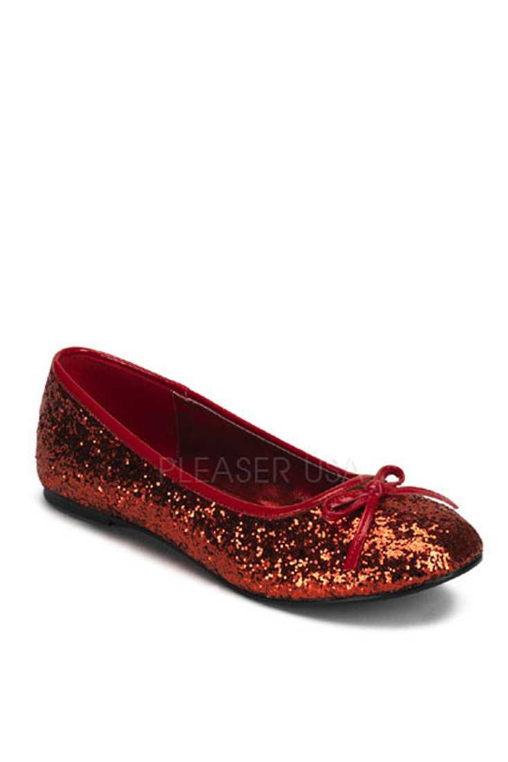 Red Bow Tie Closed Toe Flats Glitter
