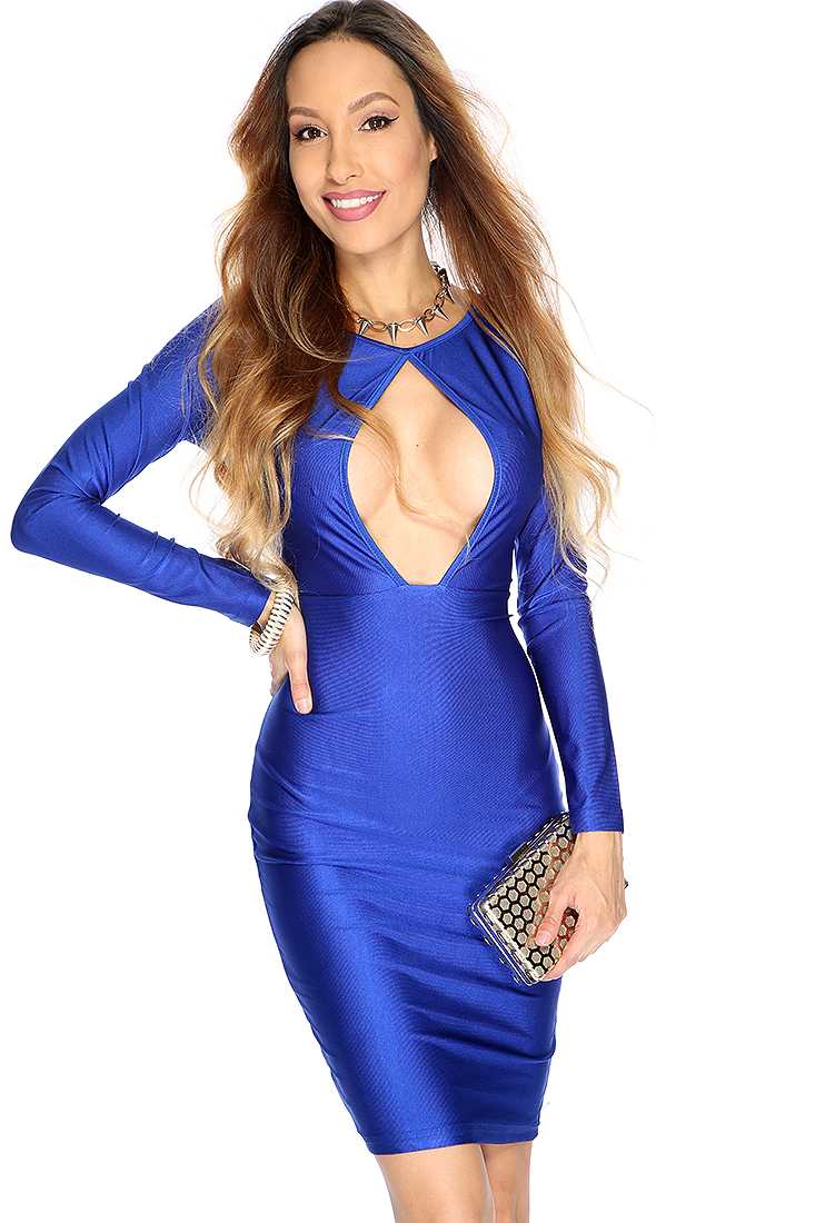 Sexy Royal Blue V-neck Long Sleeve Bodycon Party Dress