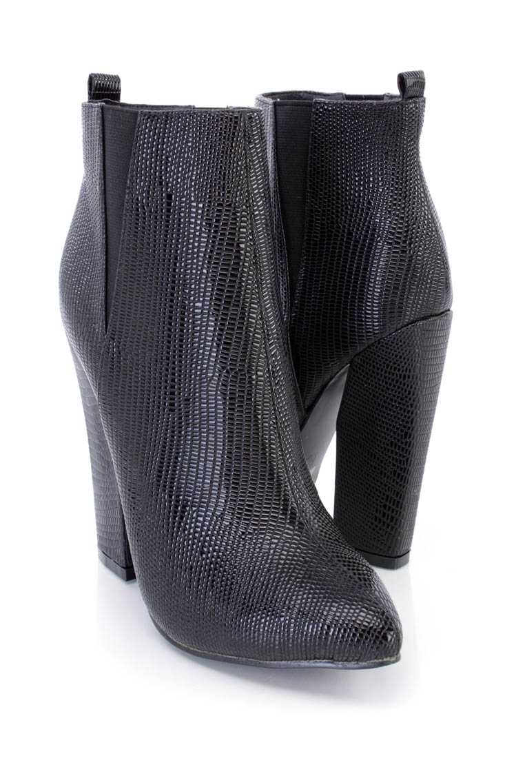Black Snake Skin Textured Ankle Booties Faux Leather