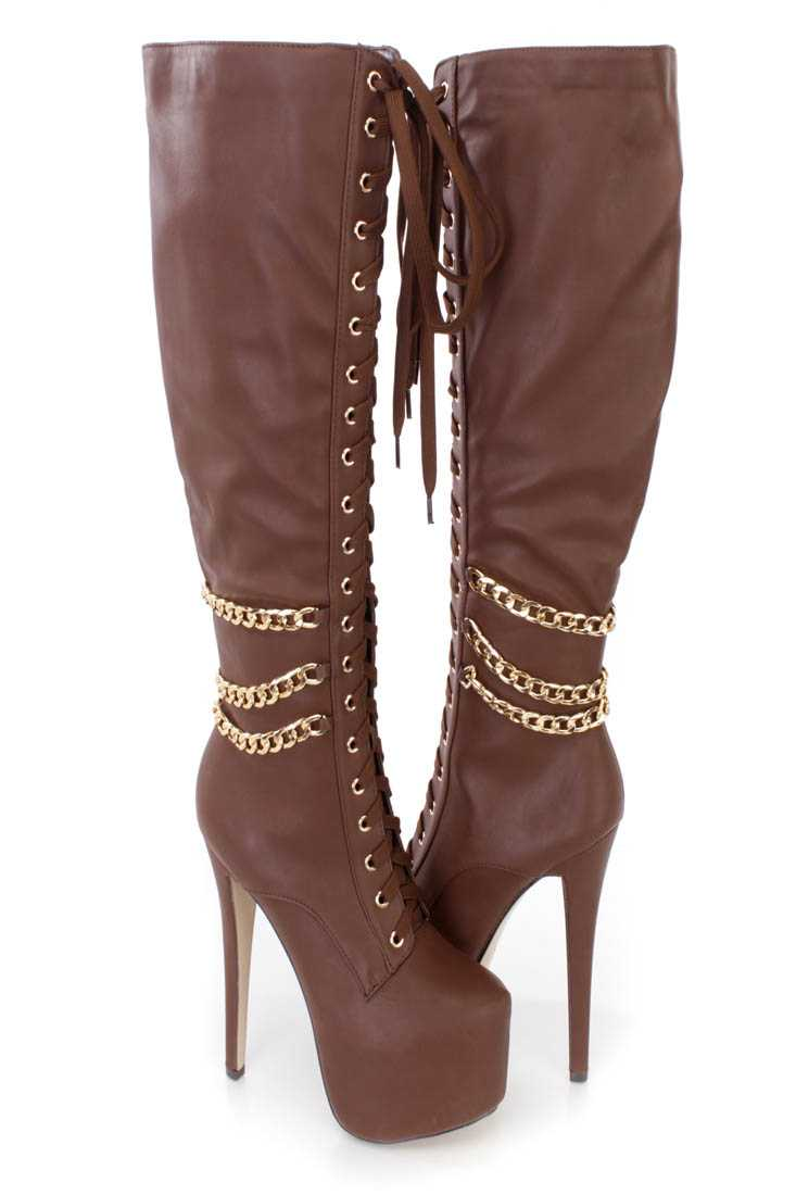 Brown Lace Up Chain Draped High Heel Boots Faux Leather