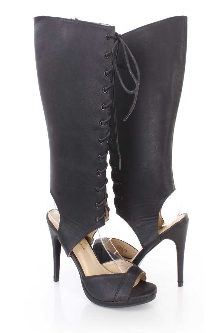 Black Cut Out Peep Toe Lace Up Boots Faux Leather