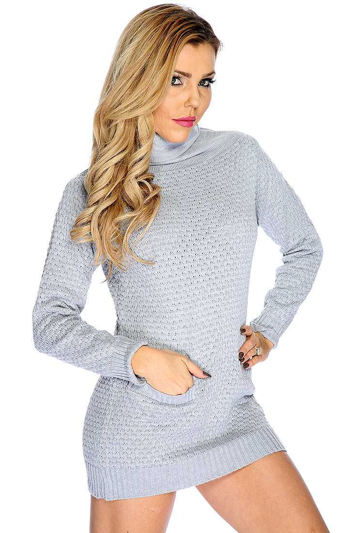 Light Grey Long Sleeve Open Knit Cowl Neck Causal Sweater