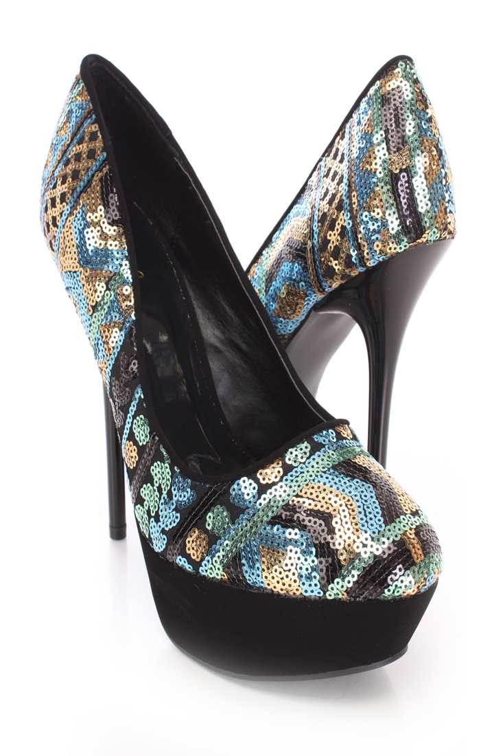 Blue Sequin Design Pump Stiletto High Heels