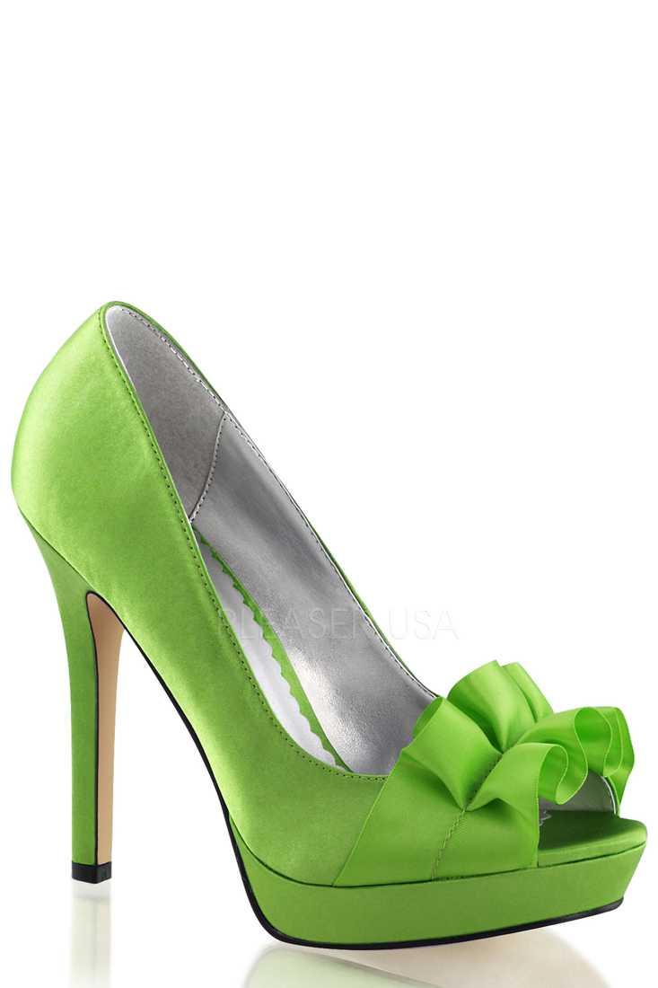 Apple Green Peep Toe Pump High Heels Satin