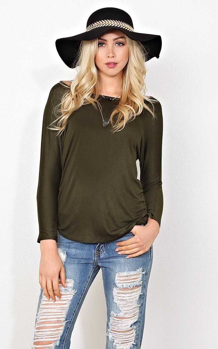 Olive Keyhole Back Top - LGE - Olive/Drab in Size Large by Styles For Less
