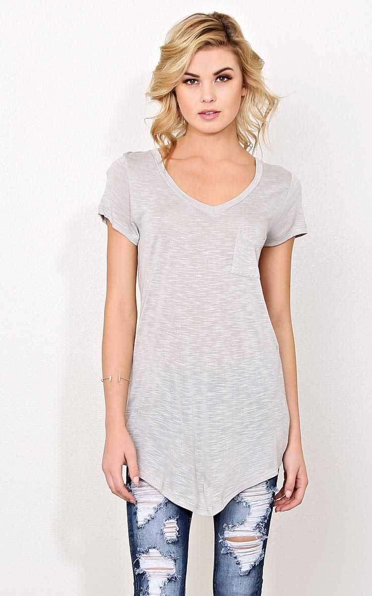 Silver V Neck Pocket Tee - - Silver in Size by Styles For Less