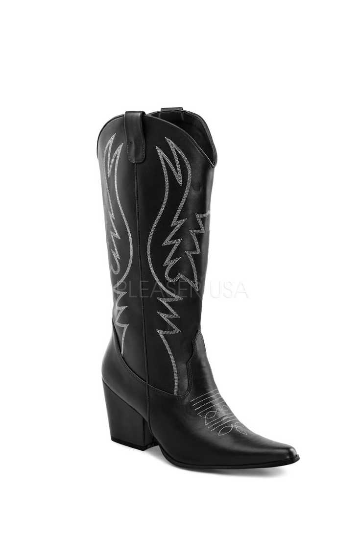 Black Tonal Stitched Cowboy Boots Faux Leather