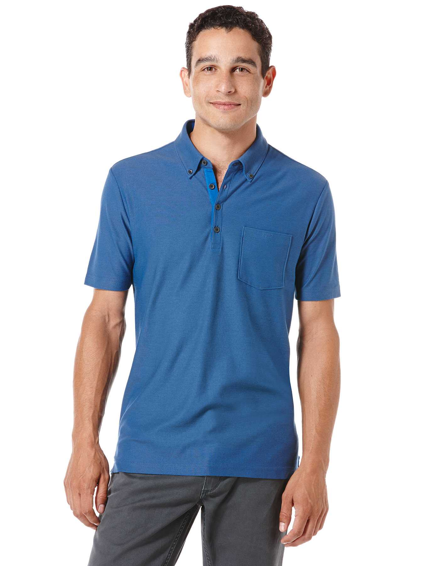 Perry Ellis Big and Tall Button Pocket Knit Polo