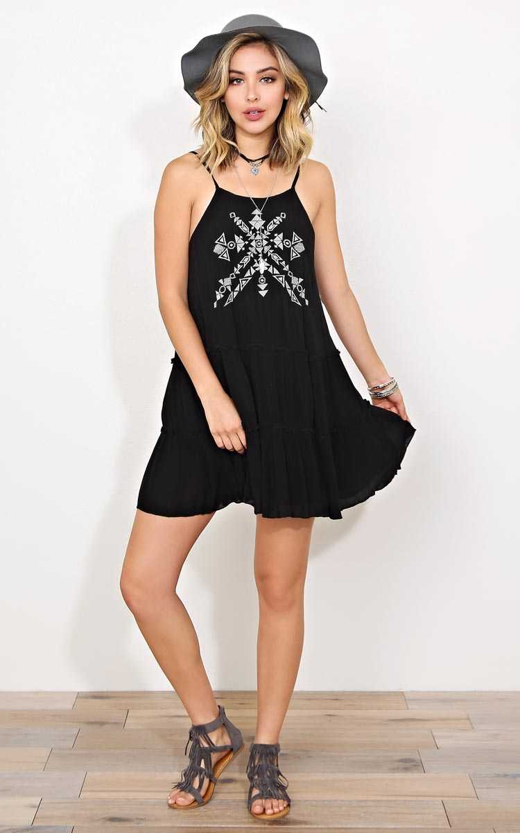 Aztec Beauty Woven Gauze Dress - MED - Black Combo in Size Medium by Styles For Less
