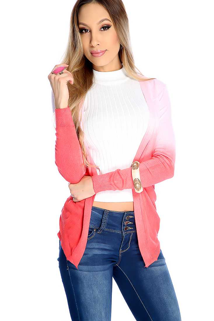 Stylish Coral Gradient Long Sleeve Cardigan