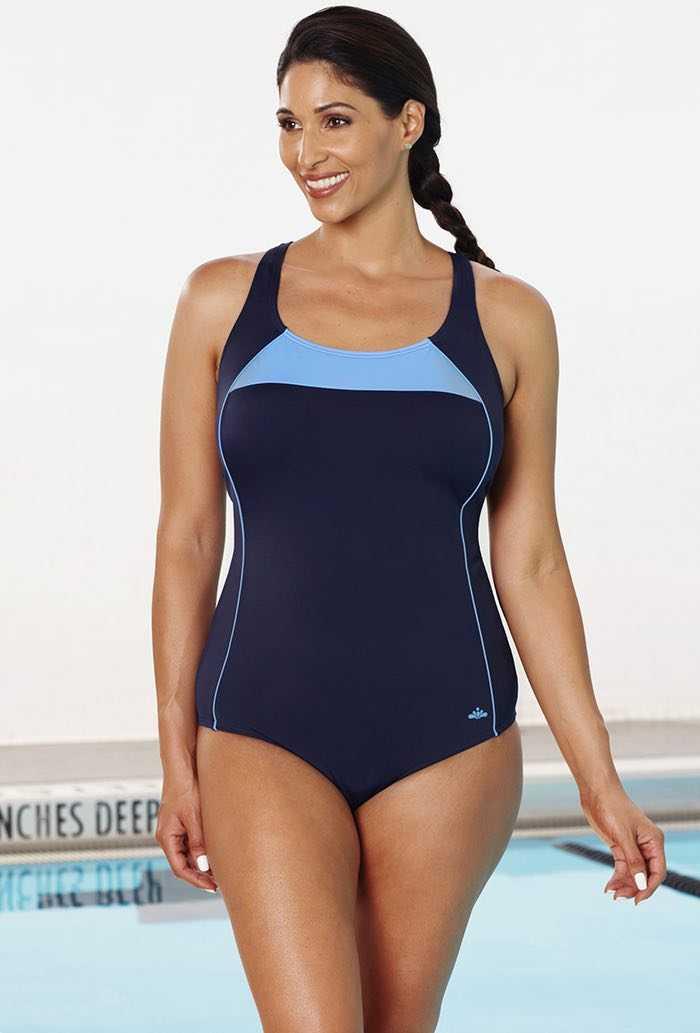 Chlorine Resistant Xtra Life Lycra Cornflower Border X-Back Swimsuit