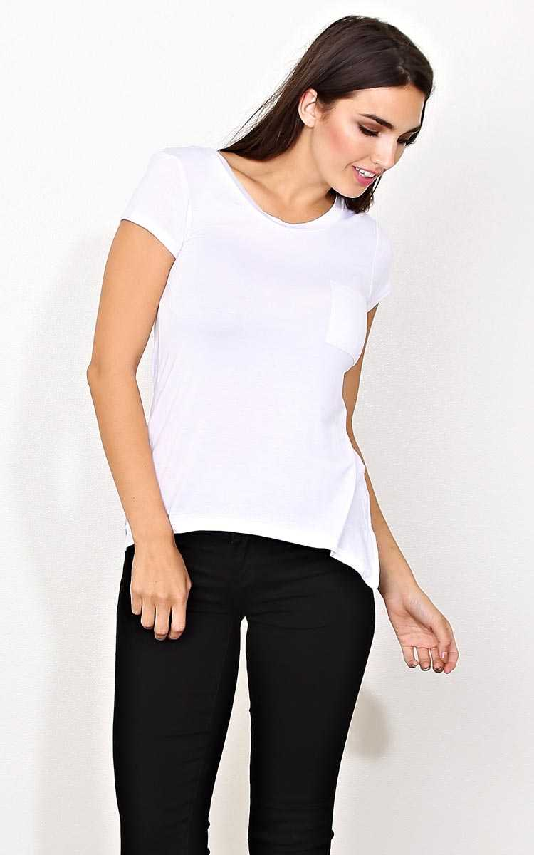 White Open Road Knit Pocket Tee - - White in Size by Styles For Less