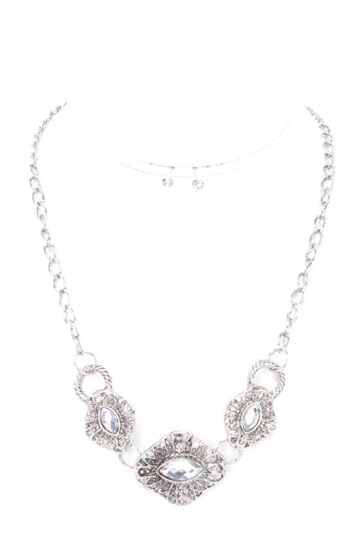 Clear Silver Intricate Design Rhinestone Necklace