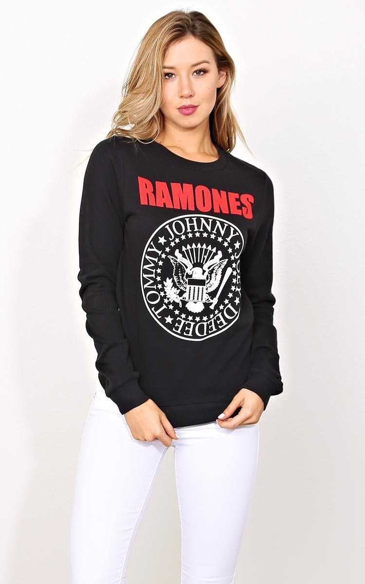 RAMONES Fleece Lined Pullover - SML - Black in Size Small by Styles For Less