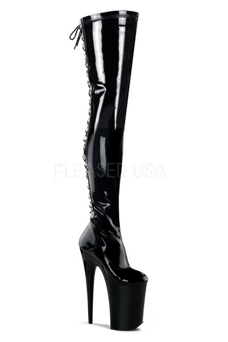 Black Back Lace Up Stretch Thigh High Platform Boots Patent